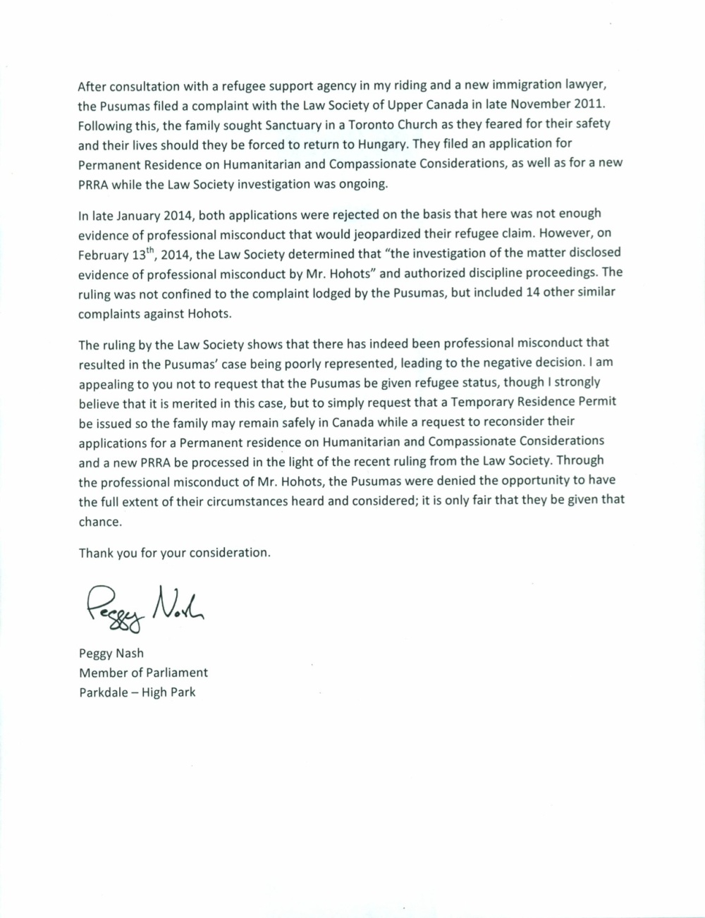2 Final Nash Letter to Minister Alexander - Pusuma Family